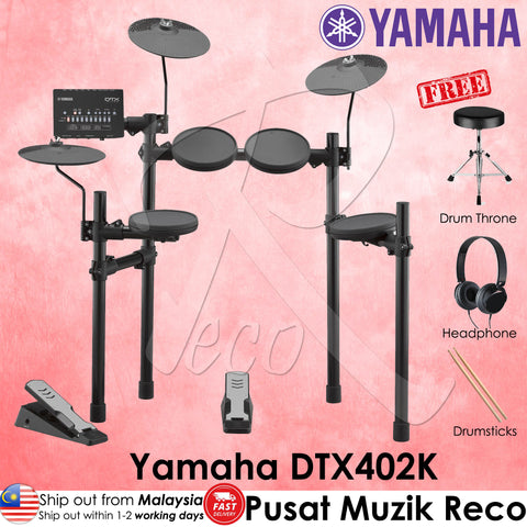 Yamaha DTX402K 5-piece Electronic Drum Set | RecoMusic Malaysia