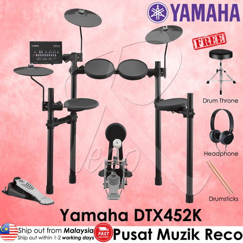 Yamaha DTX452K 5-Piece Electronic Drum Set | RecoMusic Malaysia