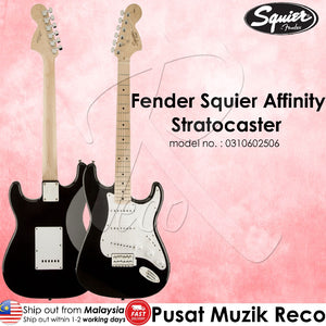 Fender Squier 0310602506 Affinity Stratocaster Electric Guitar - Black , Maple Neck - Reco Music Malaysia