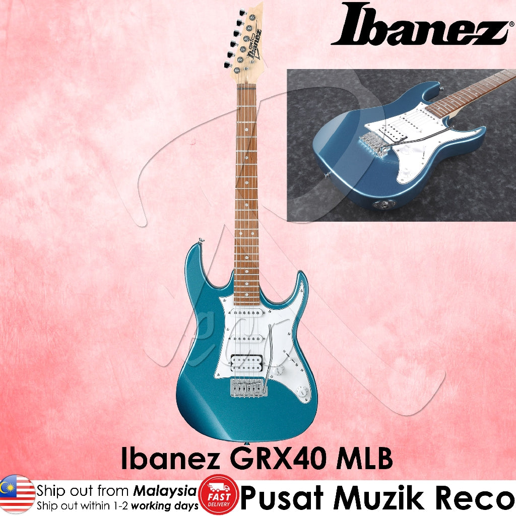 Ibanez GIO GRX40-MLB Metallic Light Blue Electric Guitar - Reco Music Malaysia