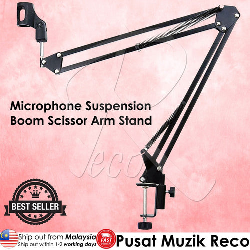 RM NB-35 Microphone Suspension Boom Scissor Arm Desktop Stand  - Reco Music Malaysia