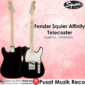 Fender Squier 0310202506 Black Affinity Telecaster Maple Neck Electric Guitar - Reco Music Malaysia