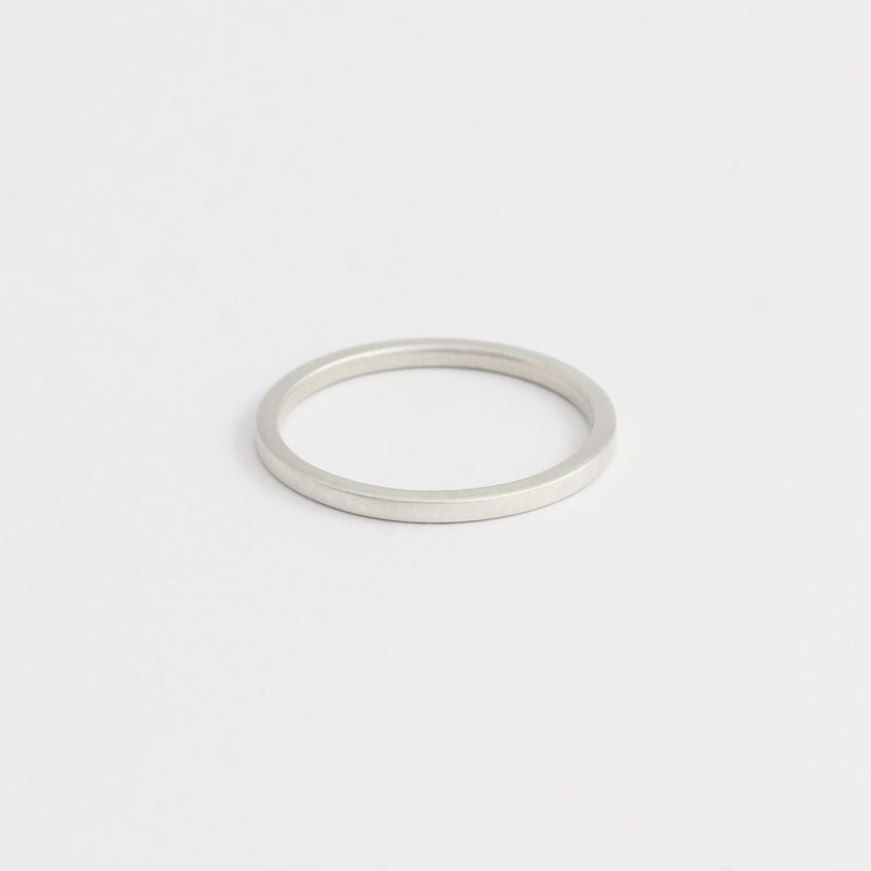 White Gold Wedding Band - 1.5mm Wide - Flat - Polished
