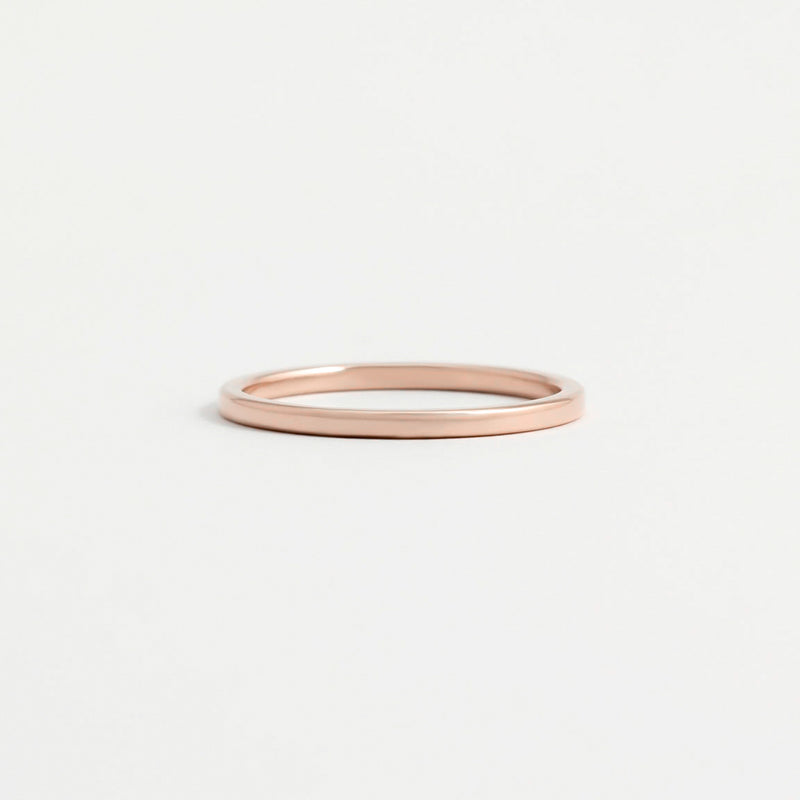 Rose Gold Wedding Band - 1.5mm Wide - Flat - Polished