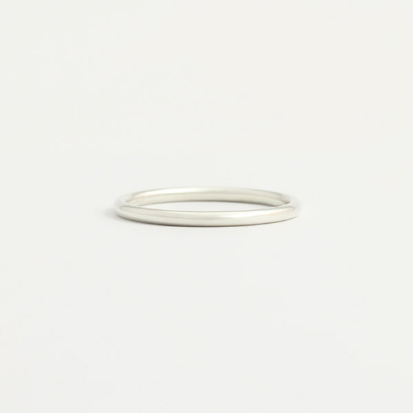 White Gold Wedding Band - 1.5mm Wide - Rounded - Polished