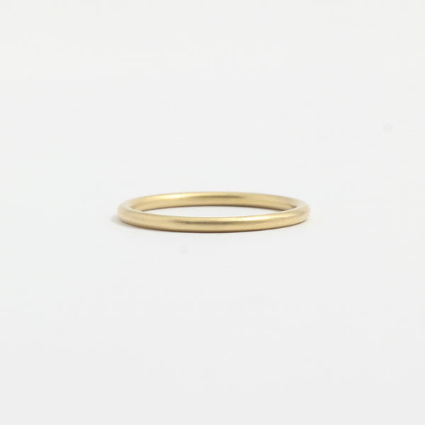 Yellow Gold Wedding Band - 1.5mm Wide - Rounded - Matte