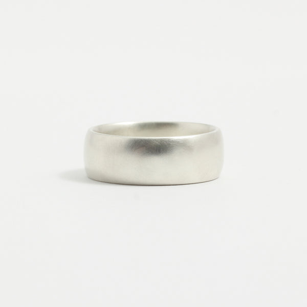 White Gold Wedding Band - 7mm Wide - Rounded - Matte
