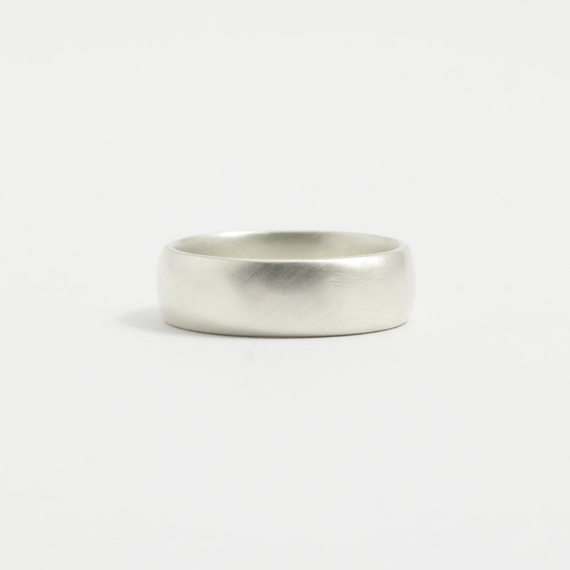 White Gold Wedding Band - 6mm Wide - Rounded - Matte