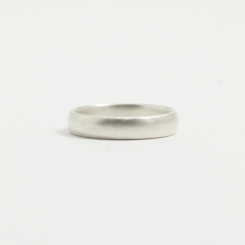 White Gold Wedding Band - 4mm Wide - Rounded - Matte