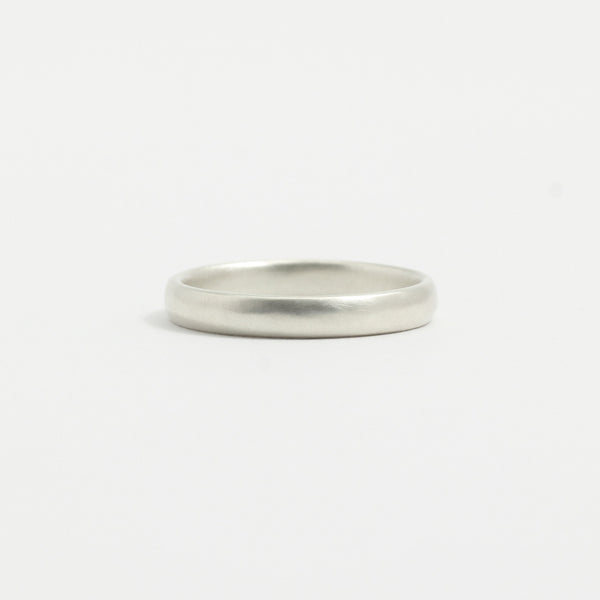 White Gold Wedding Band - 3mm Wide - Rounded - Matte