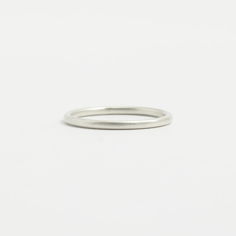 White Gold Wedding Band - 1.5mm Wide - Rounded - Matte