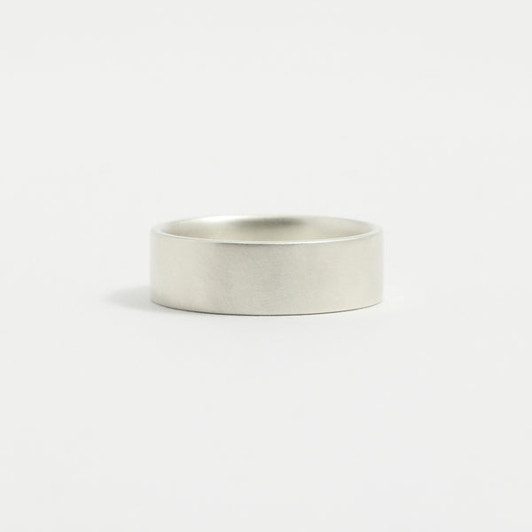 White Gold Wedding Band - 6mm Wide - Flat - Matte