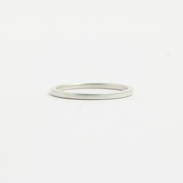 White Gold Wedding Band - 1.5mm Wide - flat - Matte