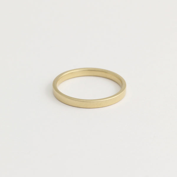 Yellow Gold Wedding Band - 2mm Wide - Flat - Polished
