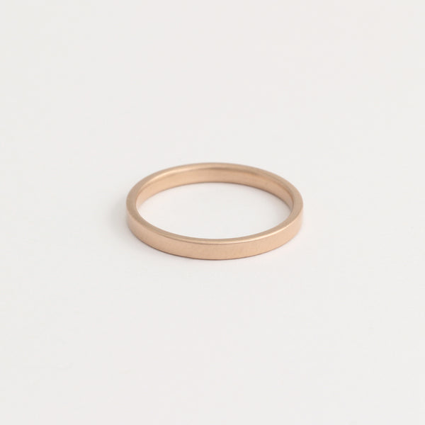 Rose Gold Wedding Band - 2mm Wide - Flat - Polished