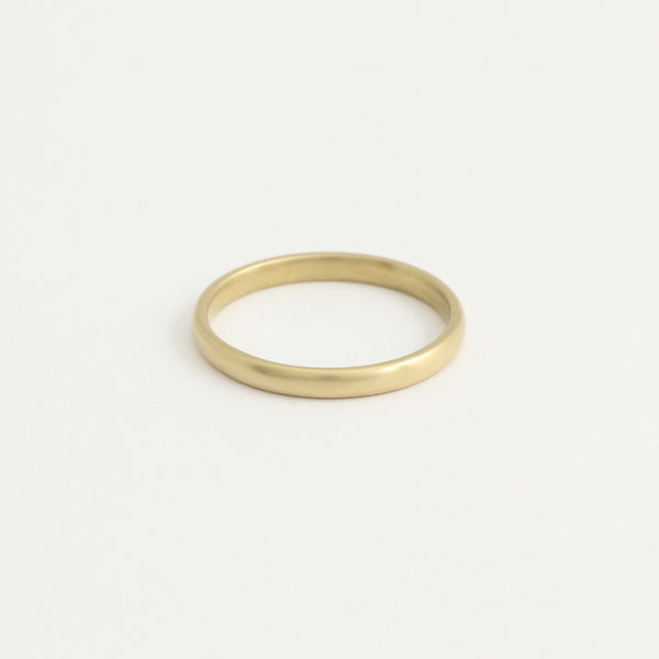 Yellow Gold Wedding Band - 2mm Wide - Rounded - Matte