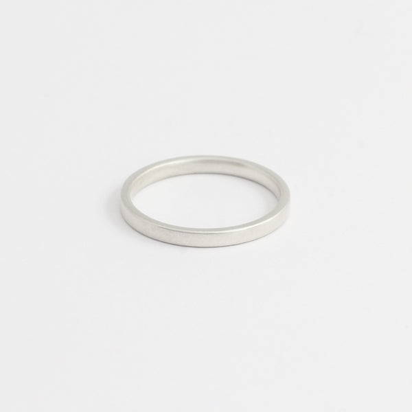 White Gold Wedding Band - 2mm Wide - Flat - Matte