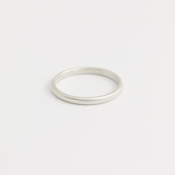 White Gold Wedding Band - 2mm Wide - Rounded - Matte