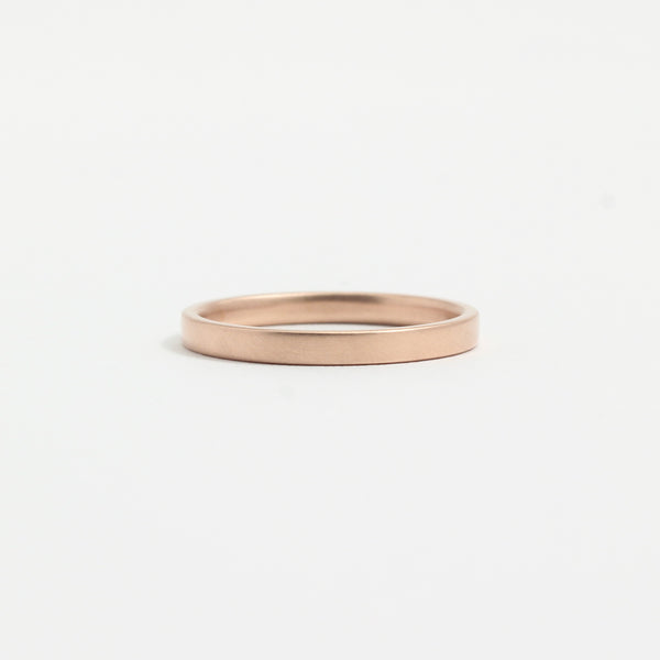 Rose Gold Wedding Band - 2mm Wide - Flat - Matte