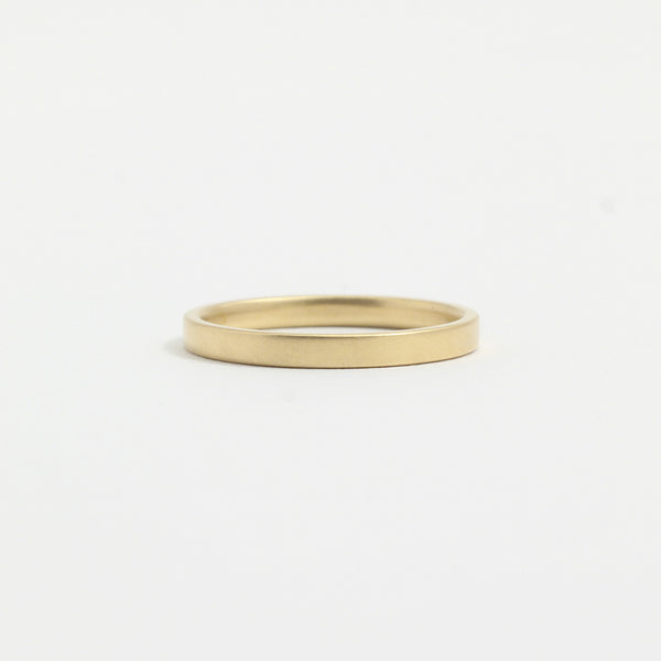 Yellow Gold Wedding Band - 2mm Wide - Flat - Matte