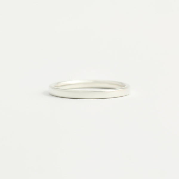 White Gold Wedding Band - 2mm Wide - Flat - Polished