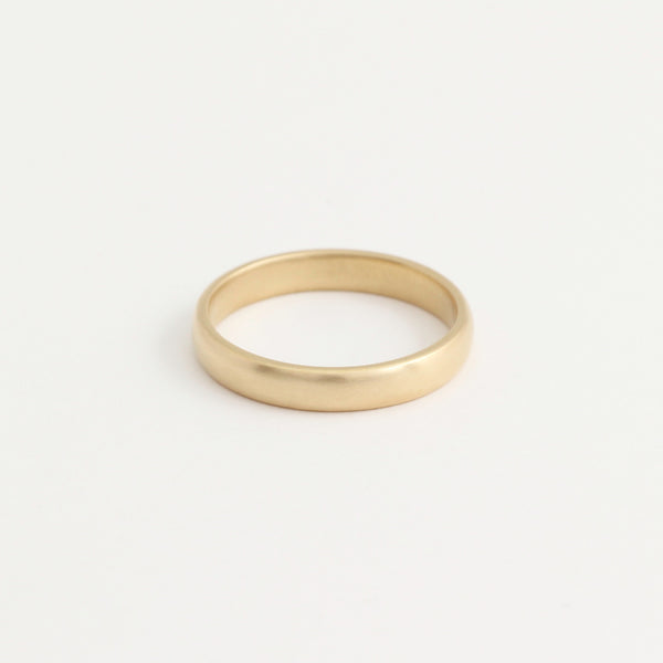 Yellow Gold Wedding Band - 3mm Wide - Rounded - Matte