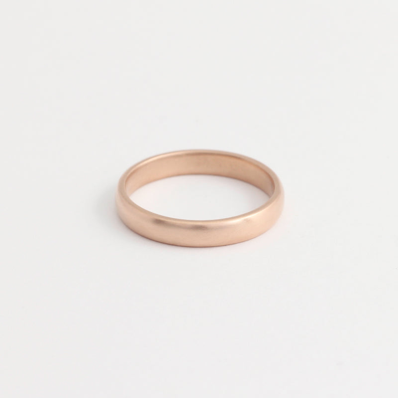 Rose Gold Wedding Band - 3mm Wide - Rounded - Matte