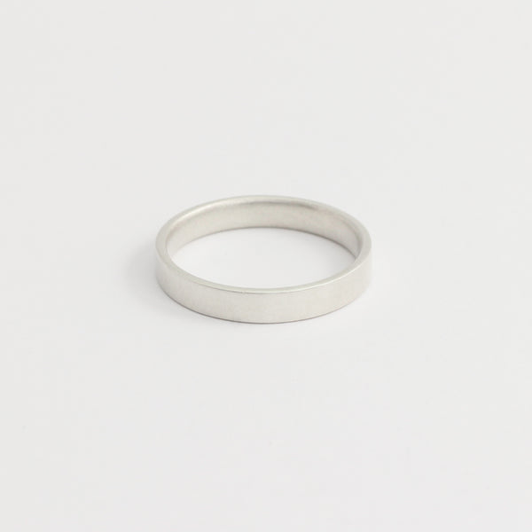 White Gold Wedding Band - 3mm Wide - Flat - Matte