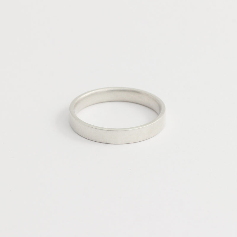 White Gold Wedding Band - 3mm Wide - Flat - Polished