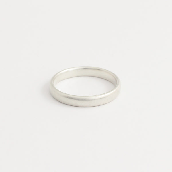 White Gold Wedding Band - 3mm Wide - Rounded - Polished