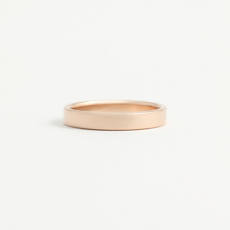 Rose Gold Wedding Band - 3mm Wide - Flat - Polished