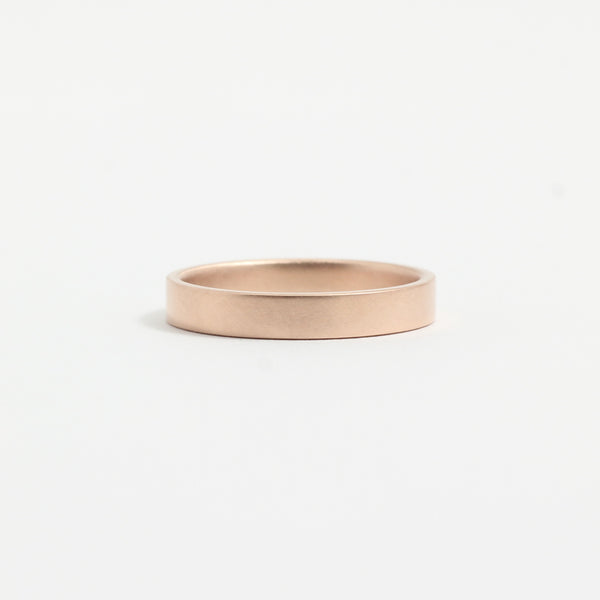 Rose Gold Wedding Band - 3mm Wide - Flat - Matte