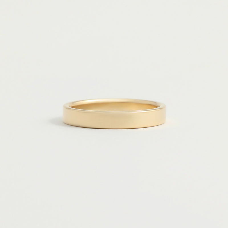Yellow Gold Wedding Band - 3mm Wide - Flat - Polished