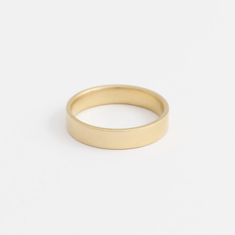 Yellow Gold Wedding Band - 4mm Wide - Flat - Polished