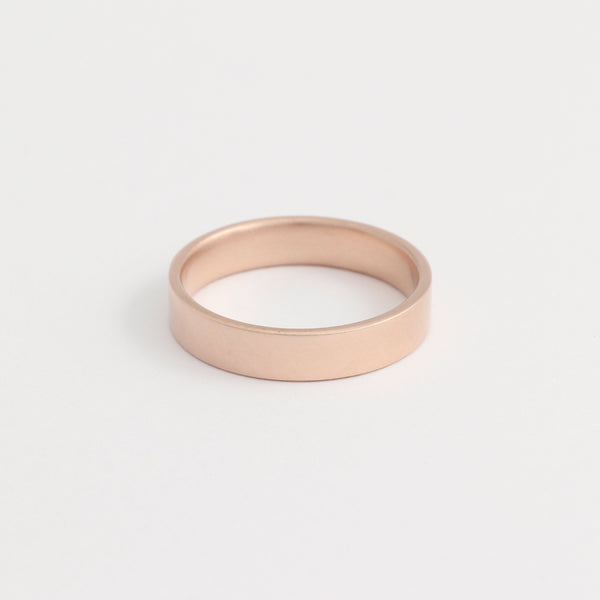 Rose Gold Wedding Band - 4mm Wide - Flat - Matte