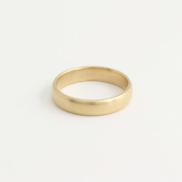 Yellow Gold Wedding Band - 4mm Wide - Rounded - Polished