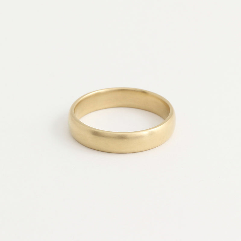 Yellow Gold Wedding Band - 4mm Wide - Rounded - Matte