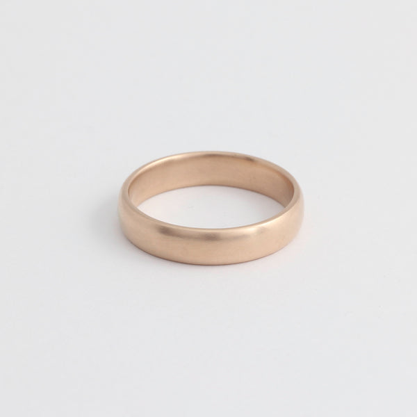 Rose Gold Wedding Band - 4mm Wide - Rounded - Matte