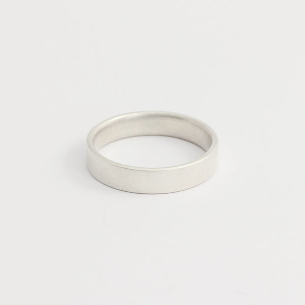 White Gold Wedding Band - 4mm Wide - Flat - Polished