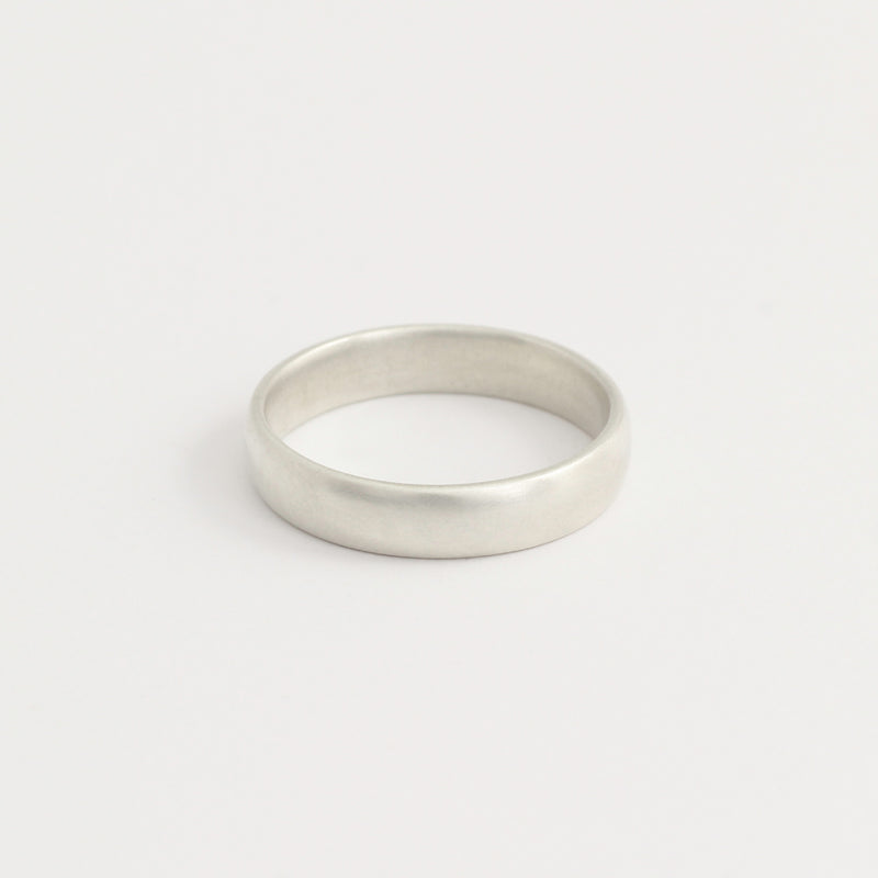 White Gold Wedding Band - 4mm Wide - Rounded - Polished