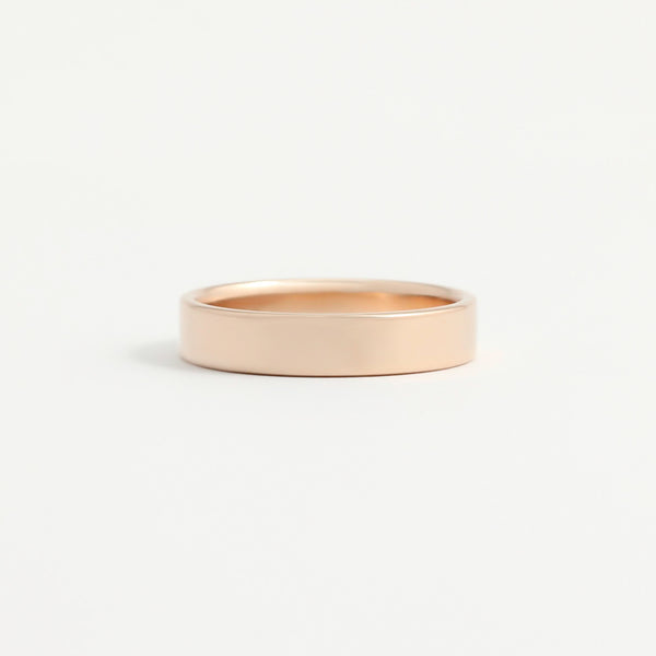 Rose Gold Wedding Band - 4mm Wide - Flat - Polished