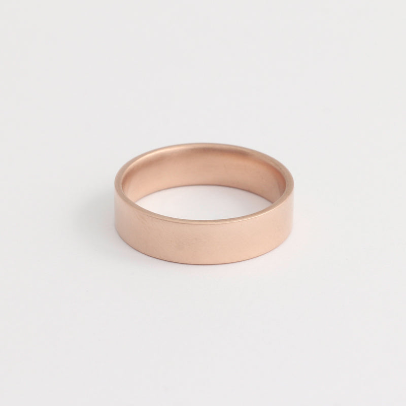 Rose Gold Wedding Band - 5mm Wide - Flat - Polished