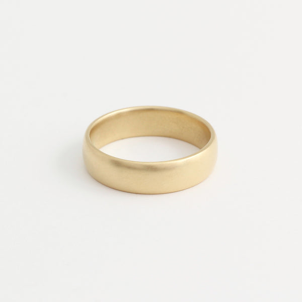 Yellow Gold Wedding Band - 5mm Wide - Rounded - Matte
