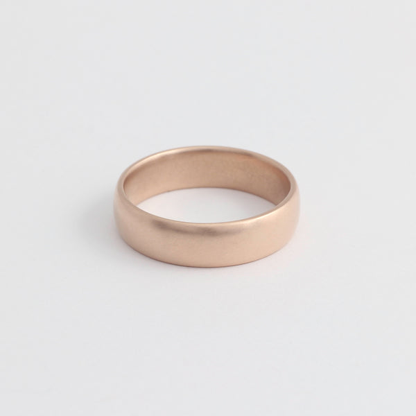 Rose Gold Wedding Band - 5mm Wide - Rounded - Matte