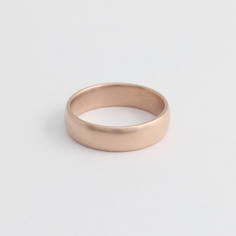 Rose Gold Wedding Band - 5mm Wide - Rounded - Polished