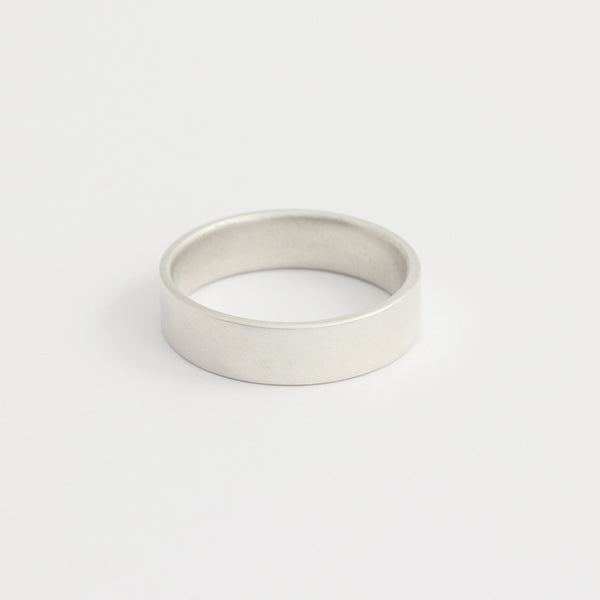 White Gold Wedding Band - 5mm Wide - Flat - Polished