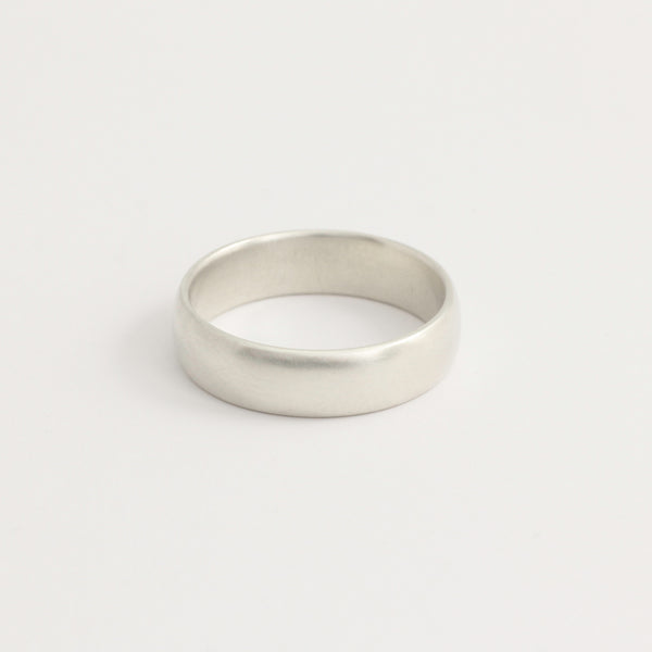 White Gold Wedding Band - 5mm Wide - Rounded - Matte