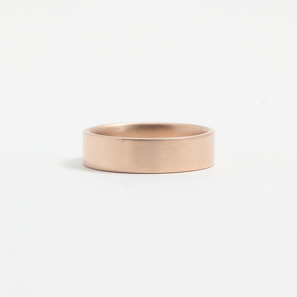 Rose Gold Wedding Band - 5mm Wide - Flat - Matte