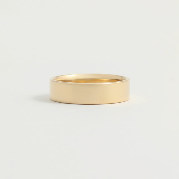 Yellow Gold Wedding Band - 5mm Wide - Flat - Polished