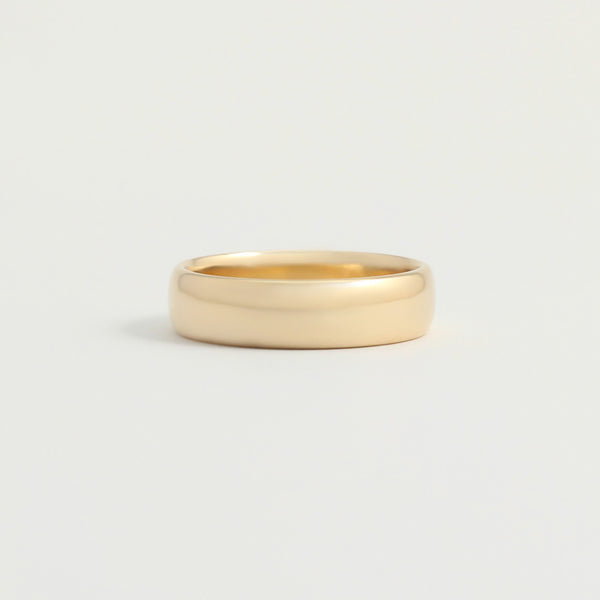 Yellow Gold Wedding Band - 5mm Wide - Rounded - Polished